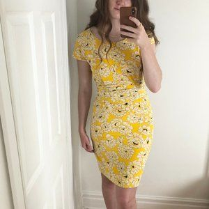 Vintage Genny 100% Silk Yellow Floral Dress Italy